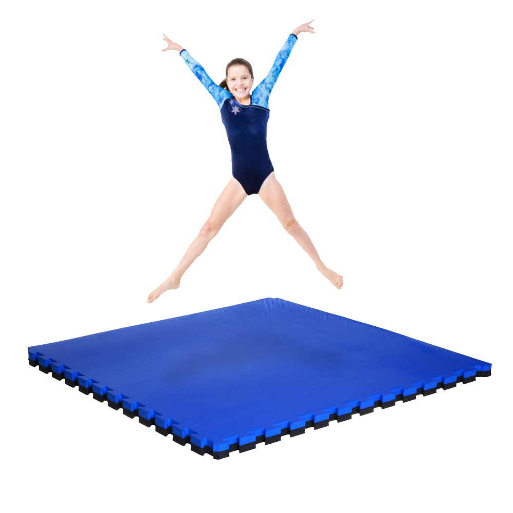 Large Interlocking Gym Mats 40mm Blue Black Soft Floor Uk